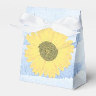 Handpainted Watercolor Sunflower Wedding Blue Favor Box