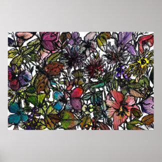 Handpainted watercolor wildflower doodle poster