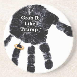 Handprint Design with Ring with Grab it like Trump Coaster