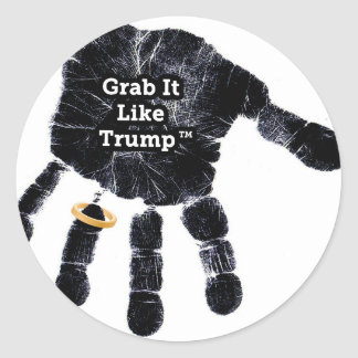 Handprint Design with Ring with Grab it like Trump Round Sticker