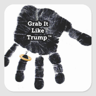 Handprint Design with Ring with Grab it like Trump Square Sticker
