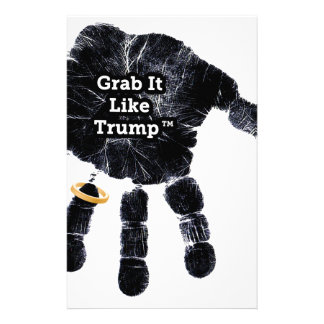 Handprint Design with Ring with Grab it like Trump Stationery