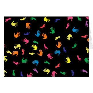Handprint footprint multicolored card