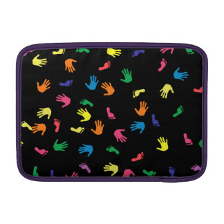 Handprint footprint multicolored MacBook air sleeve
