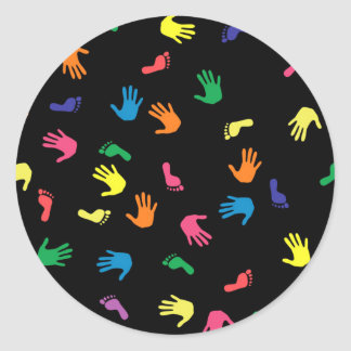 Handprint footprint multicolored round sticker