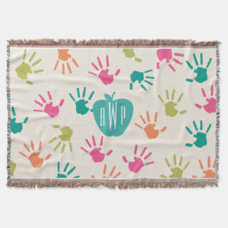 Handprints and Turquoise Apple Monogram Teacher Throw