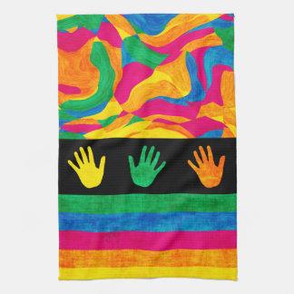 Handprints Colorful Finger Paint Textured Stripes Kitchen Towel