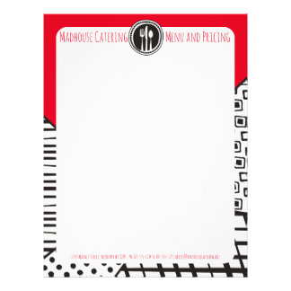Handrawn mixed patterns utensils chef catering letterhead template