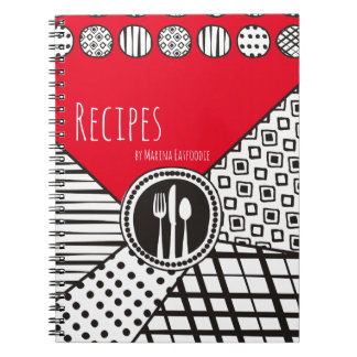 Handrawn mixed patterns utensils chef catering notebook