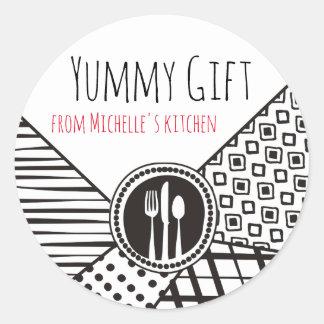 Handrawn mixed patterns utensils chef catering round sticker