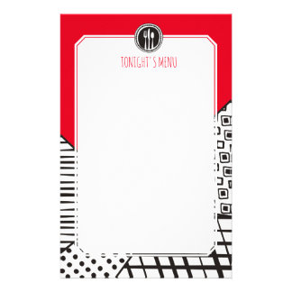 Handrawn mixed patterns utensils chef catering stationery
