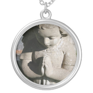 Hands and Heart  Angel Necklace (round)