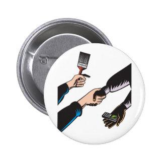Hands Barter Paint Brush Cell Phone Buttons
