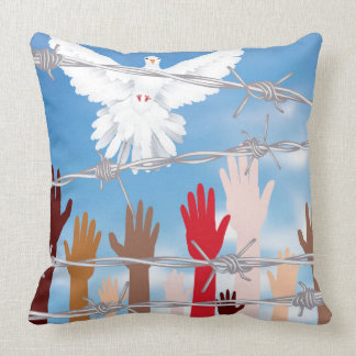 Hands Behind a Barbed Wire 3 Throw Pillow
