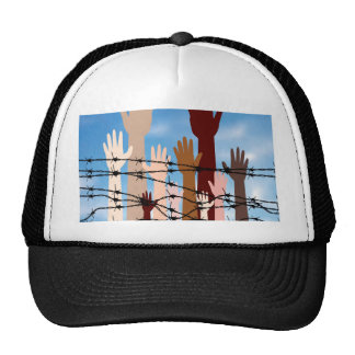 Hands Behind a Barbed Wire Trucker Hat