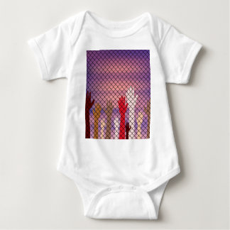 Hands Behind a Wire Fence Baby Bodysuit