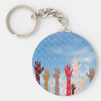 Hands Behind a Wire Fence Basic Round Button Keychain