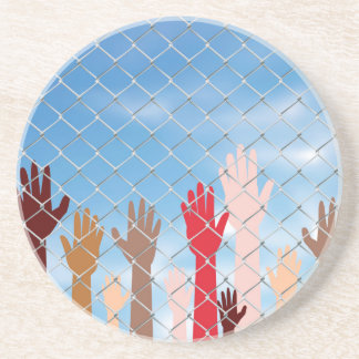 Hands Behind a Wire Fence Drink Coasters