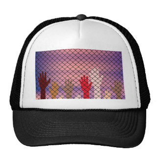 Hands Behind a Wire Fence Trucker Hat