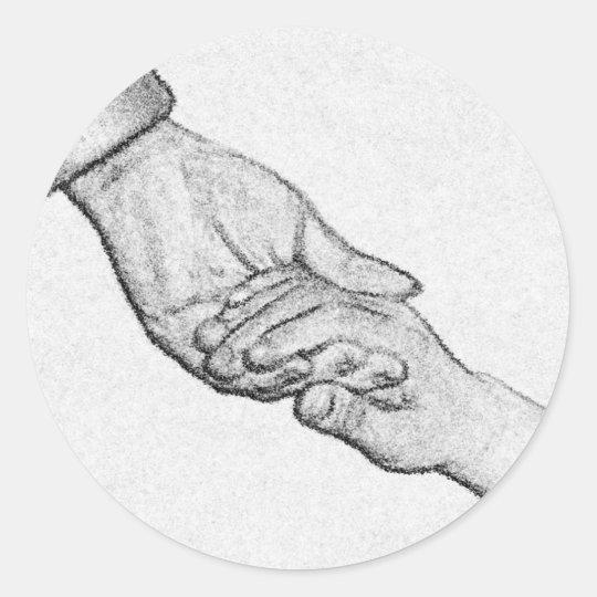 hands classic round sticker