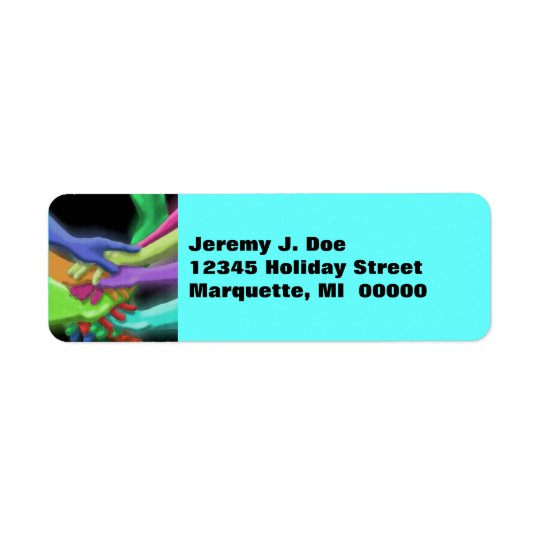 Hands Friends Stacked Neon Return address Labels