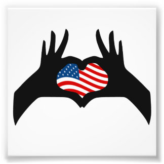 Hands Heart Symbol United States American Flag Art Photo