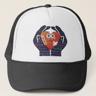 Hands holding embracing loving heart love trucker hat