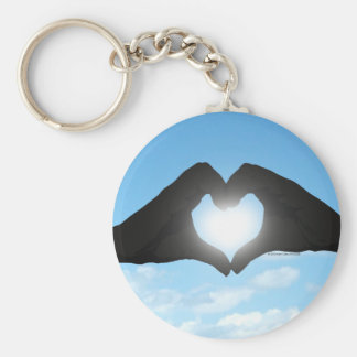 Hands in Heart Shape Silhouette on Blue Sky Basic Round Button Keychain
