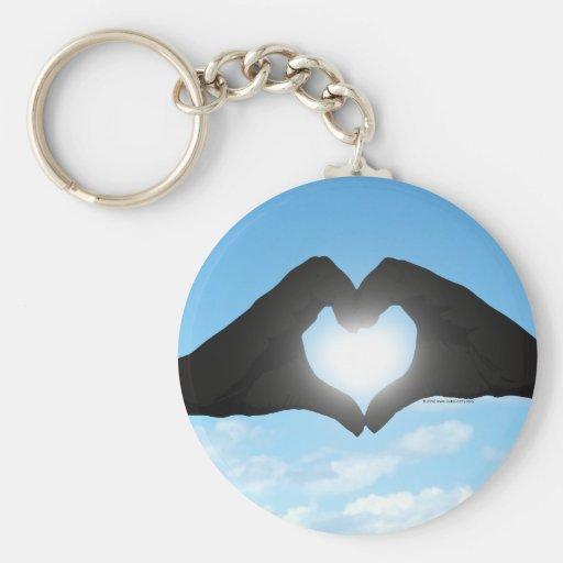Hands in Heart Shape Silhouette on Blue Sky Key Chain