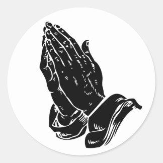 Hands In Prayer Round Sticker