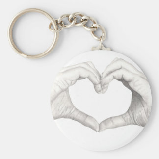 Hands in Shape of a Heart Basic Round Button Keychain