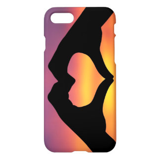 hands making a heart in the sunset iPhone 7 case