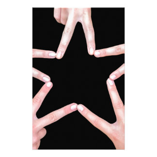 Hands of girls making star shape on black custom stationery