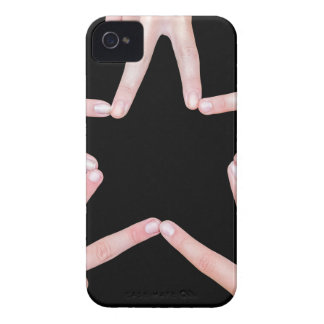 Hands of girls making star shape on black iPhone 4 Case-Mate cases