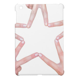 Hands of girls making star shape on white iPad mini cases