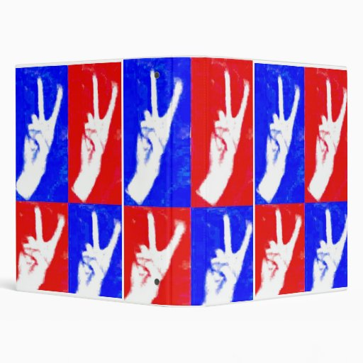Hands of Peace-Red, White and Blue 3 Ring Binder
