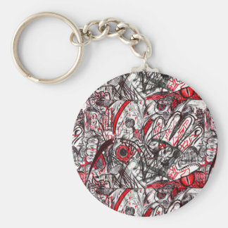 Hands of Rage Pen Drawing Basic Round Button Keychain