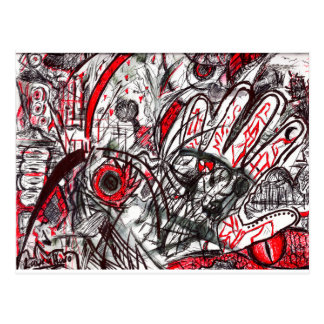Hands of Rage Pen Drawing Postcard