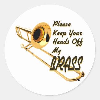 Hands Off Brass/ Trombone Classic Round Sticker