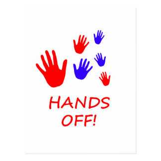 hands off postcard