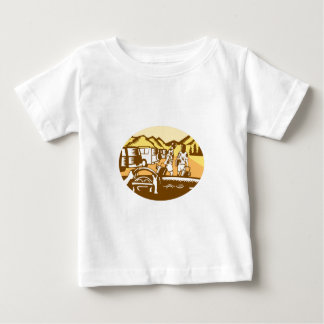 Hands on Wheel Tourist Mountain Oval Woodcut Baby T-Shirt