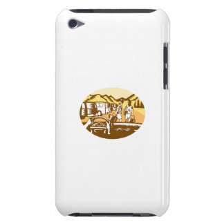 Hands on Wheel Tourist Mountain Oval Woodcut Barely There iPod Cases