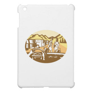 Hands on Wheel Tourist Mountain Oval Woodcut Cover For The iPad Mini
