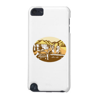 Hands on Wheel Tourist Mountain Oval Woodcut iPod Touch 5G Covers
