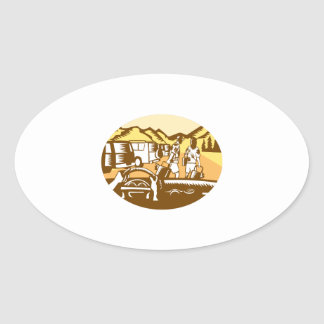 Hands on Wheel Tourist Mountain Oval Woodcut Oval Sticker