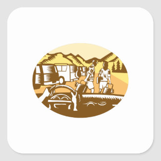 Hands on Wheel Tourist Mountain Oval Woodcut Square Sticker