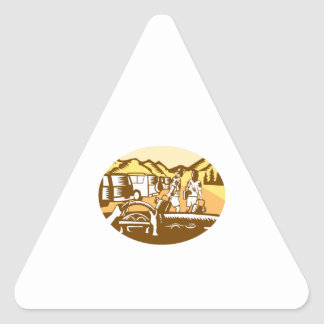 Hands on Wheel Tourist Mountain Oval Woodcut Triangle Sticker