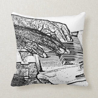 Hands playing piano bw sketch music design throw pillow