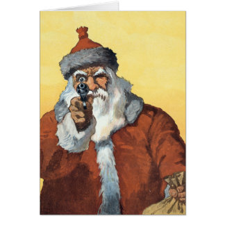 Hands Up! - As Santa Claus looks to some of us. Card