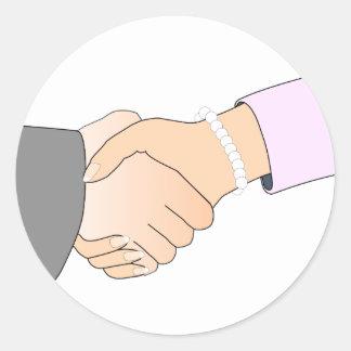 Handshake Man and Woman Classic Round Sticker